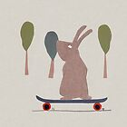 skating bunny by Sandy Mitchell