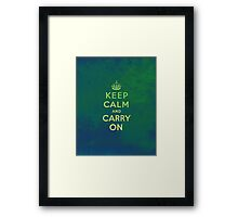 Keep Calm and Carry One Grunge Green Background Framed Print