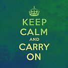 Keep Calm and Carry One Grunge Green Background by houk