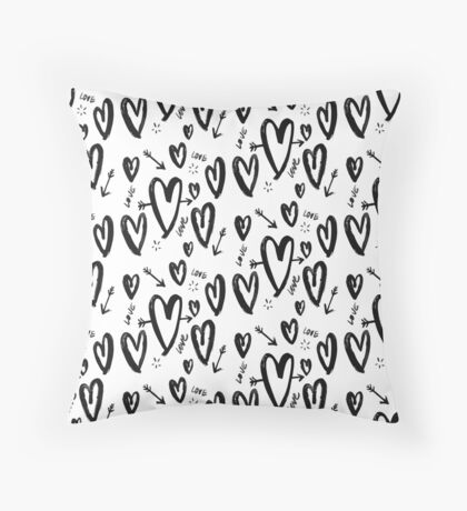 Love Heart Valentine's Watercolour Pattern Throw Pillow