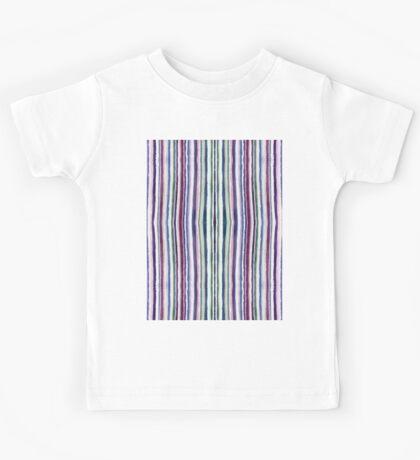 Flourite Pinstripe - Watercolour in Purple and Green Kids Tee