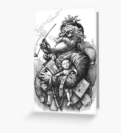 Vintage Illustration Of Santa Claus After Naste Greeting Card