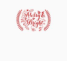Merry and Bright, Merry Christmas Womens Fitted T-Shirt