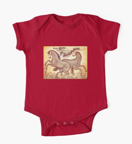 HORSES; Vintage Calligraphy Style Print One Piece - Short Sleeve