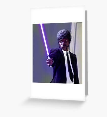 Sam L. Jackson with a lightsaber Greeting Card