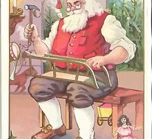 A Vintage Merry Christmas Santa Claus in his Workshop by taiche