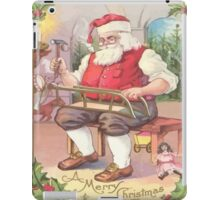 A Vintage Merry Christmas Santa Claus in his Workshop iPad Case/Skin