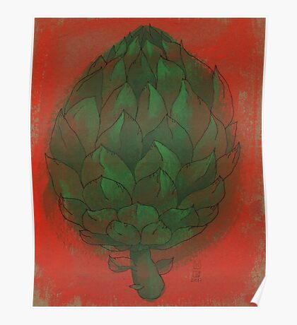 Artichoke on red Poster