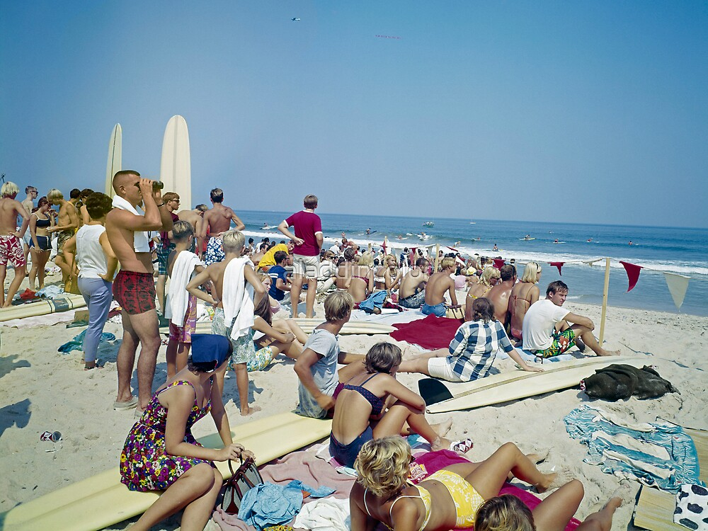 Virginia Beach Surfing from the 1960's  Retro Longboards by aladdincolor