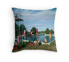 Grandview Hotel in Moodus Connecticut 1960's Outdoor Pool  Throw Pillow