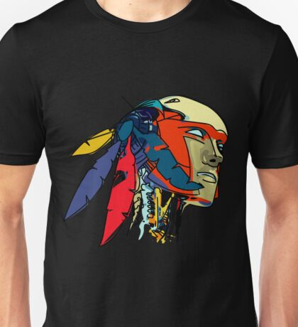 Colored Native Robot Decorated With Feathers Unisex T-Shirt