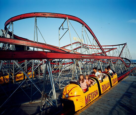 Meteor Roller Coaster Ride - Sportland Pier Wildwood, NJ - 1960's by aladdincolor