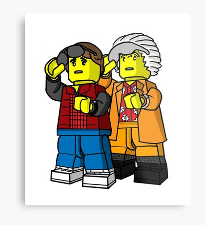 Back To The Future Lego Metal Print
