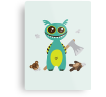 Cute Monster with Headless Teddy Metal Print