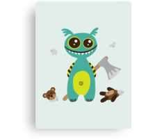 Cute Monster with Headless Teddy Canvas Print