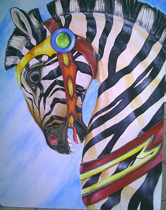 Carousel Zebra (2nd in series) by beankittystudio