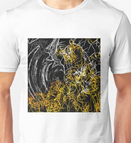 psychedelic sketching line pattern abstract in yellow black and white Unisex T-Shirt