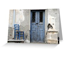 Blue Decay Santorini Greeting Card