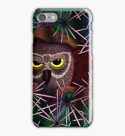 Halloween Dark Owl Peering Out From Saquaro iPhone Case/Skin