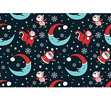 Christmas Animals and Little Santa Pattern. Photographic Print