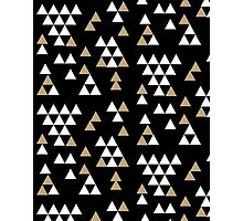 Triangles - geometric triangles in scattered free style gold black white bold modern colors Photographic Print