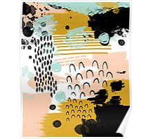 Ames - modern abstract painting in free mark making colors navy mint gold white blush Poster
