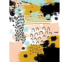 Ames - modern abstract painting in free mark making colors navy mint gold white blush Photographic Print