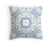 Blue Blossoms Print Throw Pillow