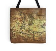 Distressed Maps: Lord of the Rings Middle Earth Tote Bag