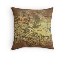 Distressed Maps: Lord of the Rings Middle Earth Throw Pillow