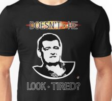 MOFFAT: Doesn't he look tired? (White on dark colors) Unisex T-Shirt