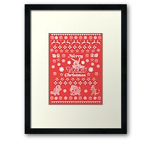 Pokemon Christmas Card Jumper Pattern Framed Print