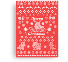 Pokemon Christmas Card Jumper Pattern Canvas Print