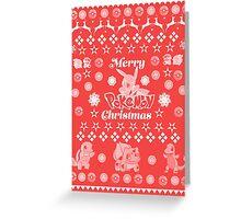 Pokemon Christmas Card Jumper Pattern Greeting Card