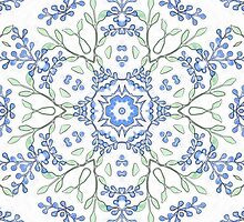 Budded Blue Blossoms Print by red addiction