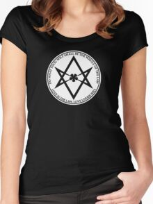 Aleister Crowley - DO WHAT THOU WILT SHALL BE THE WHOLE OF THE LAW - Occult - Thelema (White On Black) Women's Fitted Scoop T-Shirt