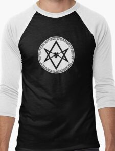 Aleister Crowley - DO WHAT THOU WILT SHALL BE THE WHOLE OF THE LAW - Occult - Thelema (White On Black) Men's Baseball ¾ T-Shirt