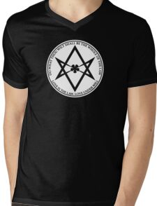 Aleister Crowley - DO WHAT THOU WILT SHALL BE THE WHOLE OF THE LAW - Occult - Thelema (White On Black) Mens V-Neck T-Shirt