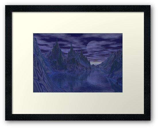 Moonlit mountains by Annika Strömgren