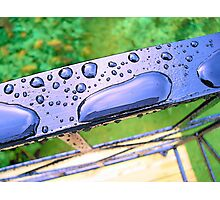 drops on a railing Photographic Print