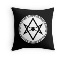 Aleister Crowley - DO WHAT THOU WILT SHALL BE THE WHOLE OF THE LAW - Occult - Thelema (White On Black) Throw Pillow