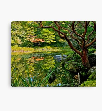 Heian Shrine pond garden, Kyoto, Japan Canvas Print