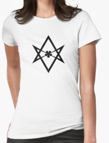 Aleister Crowley - Magick Symbol - Golden Dawn - Occult - Thelema (Black on White) Womens Fitted T-Shirt