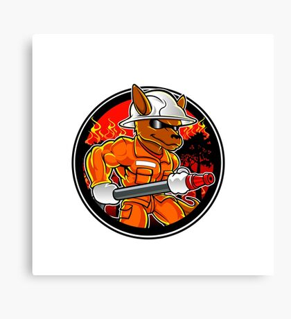 kangaroo firefighter extinguishes fire in forest Canvas Print