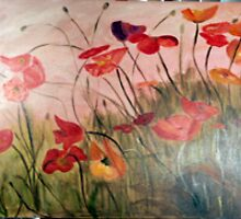Poppies in the field by lorna