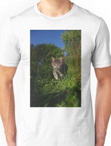 Tabby cat hunting in garden Unisex T-Shirt