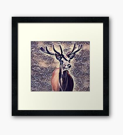 The Powerful Adult Deer stag Framed Print