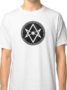 Aleister Crowley - DO WHAT THOU WILT SHALL BE THE WHOLE OF THE LAW - Occult - Thelema (Black On White) Classic T-Shirt