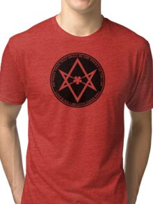 Aleister Crowley - DO WHAT THOU WILT SHALL BE THE WHOLE OF THE LAW - Occult - Thelema (Black On White) Tri-blend T-Shirt