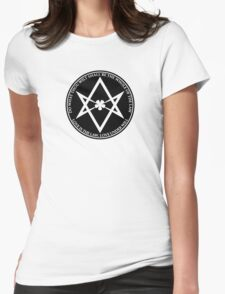 Aleister Crowley - DO WHAT THOU WILT SHALL BE THE WHOLE OF THE LAW - Occult - Thelema (Black On White) Womens Fitted T-Shirt